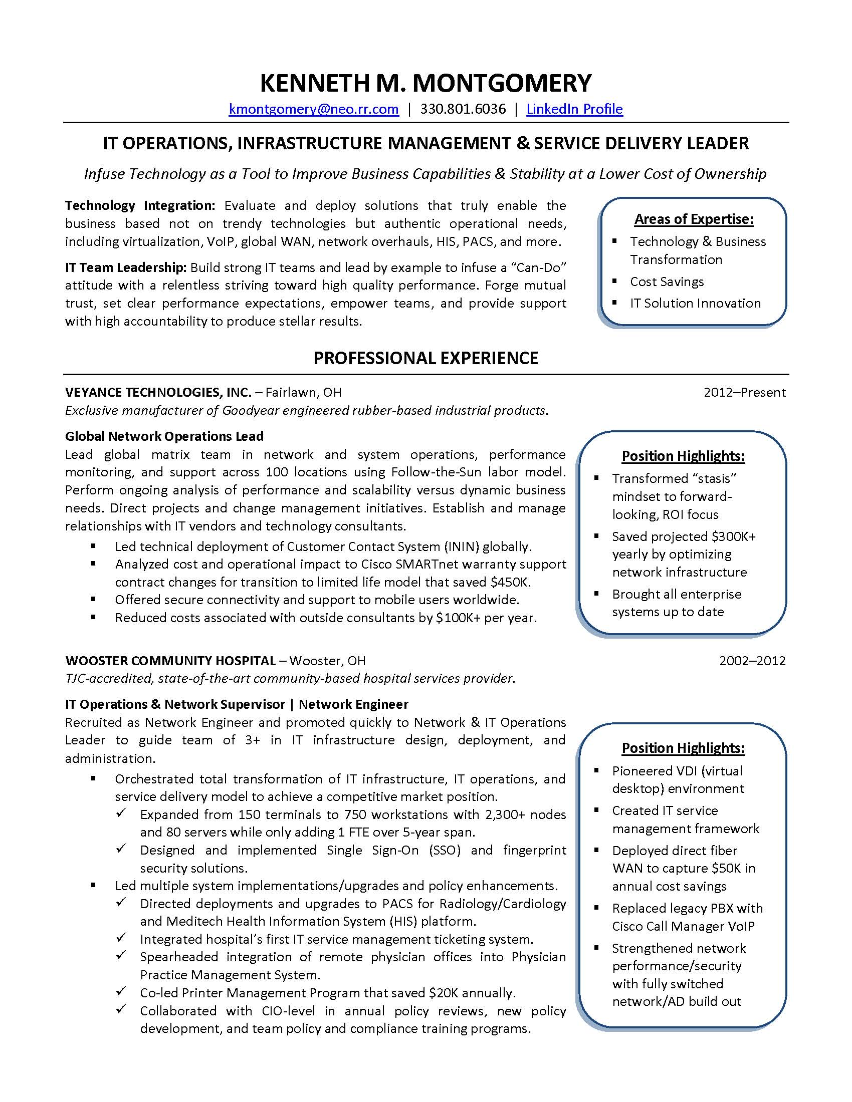 CIO Resume   Ken Montgomery_Page_1  Cio Resume Sample