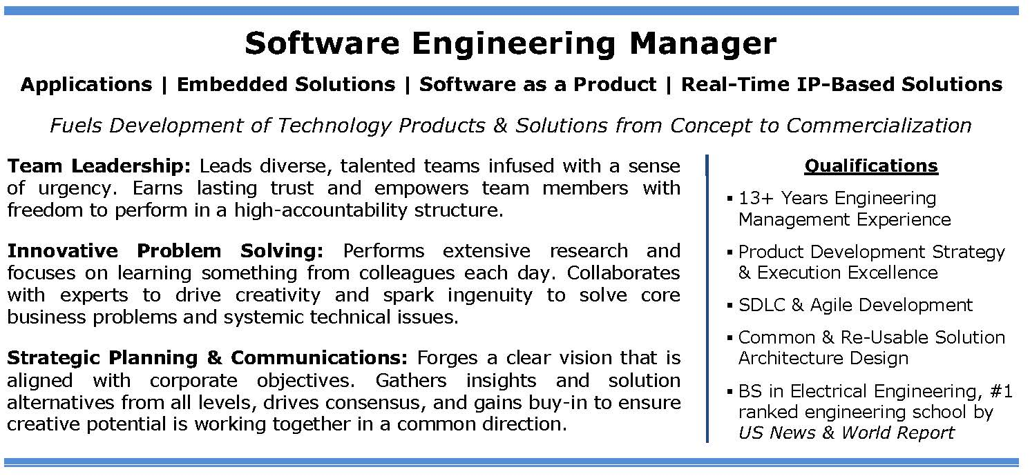 Software Engineer Resume  Software Engineering Manager Resume
