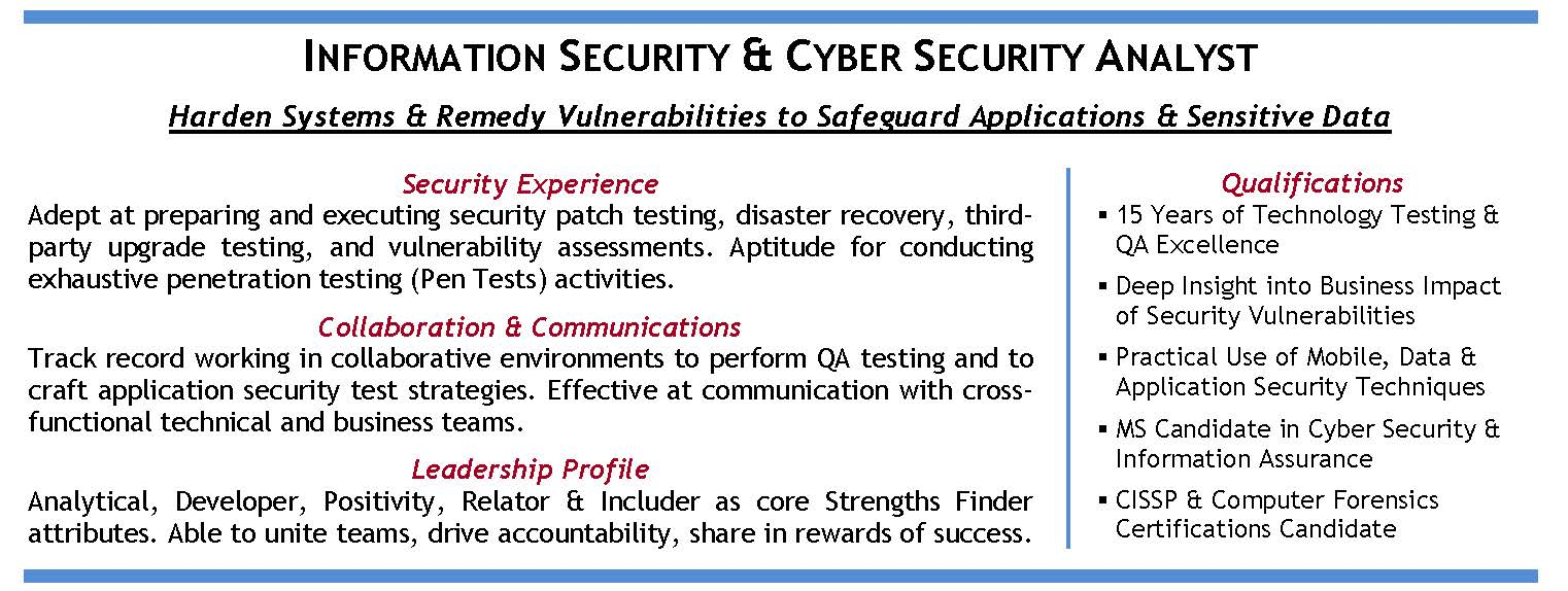 information assurance - Cyber Security Resume